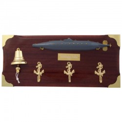Key hanger with submarine, bell and anchors