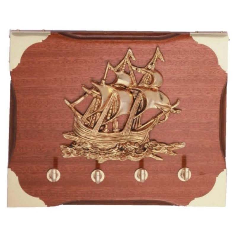 Cuelga-llaves con velero en metopa 20x25cm