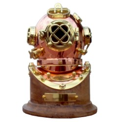Polished brass and copper diving helmet