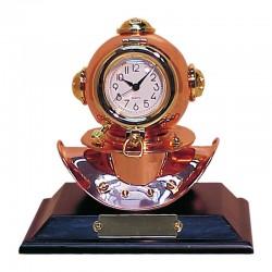 Escafandra de latón y cobre con reloj, 19x16x14cm