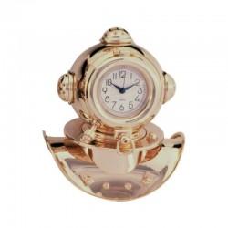 Gilded brass diving helmet with watch, 17x14x11cm