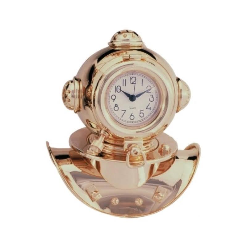 Escafandra de latón dorado con reloj, 17x14x11cm