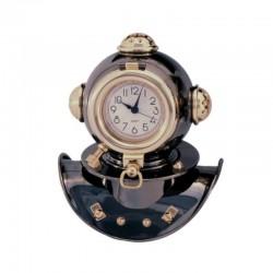 Bluing brass diving helmet with clock, 17x14x11cm