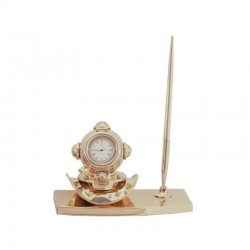 Gilded brass desk set, with diving helmet and watch 16x11x7cm