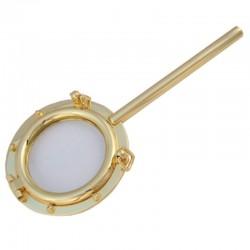 Gilded brass porthole magnifying glass 16x7cm