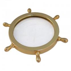 Gilded brass rudder wheel magnifier 8cm