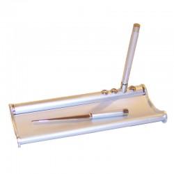 Escribanía de aluminio con bolígrafo y abrecartas 22x9x2cm