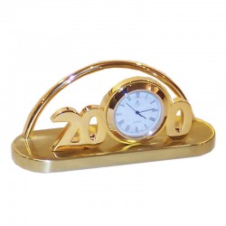 Gilded brass card holder with clock 12x6x4cm