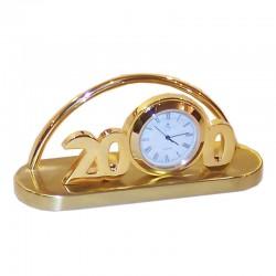 Porta-tarjetas de latón dorado con reloj 12x6x4cm