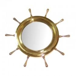 Brass rudder wheel with mirror 45cm