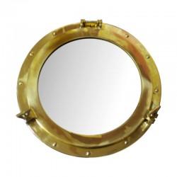 Brass round porthole 38cm with mirror