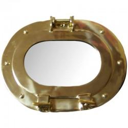 Brass porthole with mirror 25x19x6cm