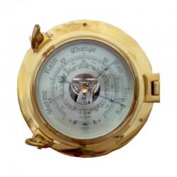 Barómetro ojo de buey de latón pulido 22x8cm