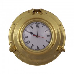 Polished brass porthole clock 29x5cm