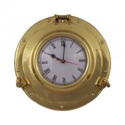 Reloj ojo de buey de latón pulido 29x5cm