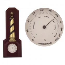 Wall brass lighthouse with hygrometer 35x13x5cm