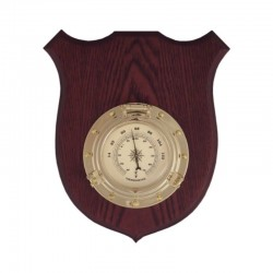 Thermometer porthole on wooden board 22x17.5x4.5cm