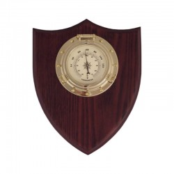Thermometer porthole on wooden board 20x18x4.5cm