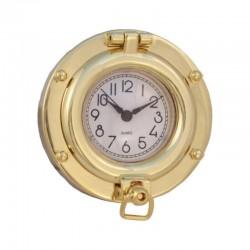 Polished brass porthole clock 8.5cm