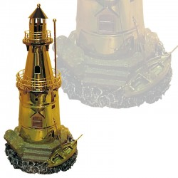 Polished brass lighthouse and boat on island 30x13cm