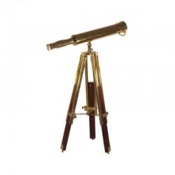 Brass telescope 40cm with wood and brass tripod 68cm