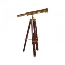 Brass telescope 45cm with wooden tripod 68cm
