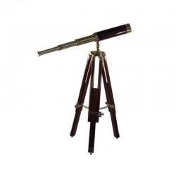 Brass telescope 46cm with wooden tripod 68cm
