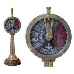 Brass telegraph with wooden base 48x15 cm
