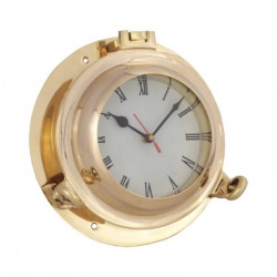 Polished brass porthole 22x8cm with clock