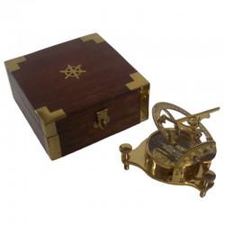 Brass solar clock 10cm, with wooden box 13x13x6cm