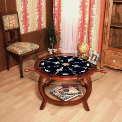 Rudder wheel table 102x49cm with white knots