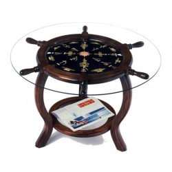 Rudder wheel table 72x49cm with gilded knots