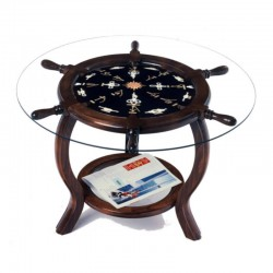 Rudder wheel table 72x49cm with white knots