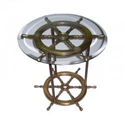 Mesa ruedas de timón con cristal 50x50cm
