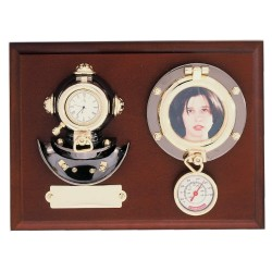 Wall board 22x17x6cm with helmet-clock, photo-holder and thermometer