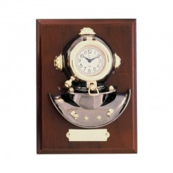 Wall board 23x17x7cm with diving helmet and clock