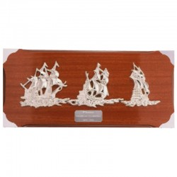 Wall board 50x25cm with silvery sailboats