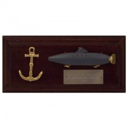 Peral Submarine and anchor on wall board of 19x9cm