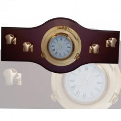 Perchero 70x33cm con reloj latón 22cm y 4 norays
