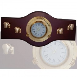 Wall coat rack 70x33cm with 22cm clock and 4 bollards