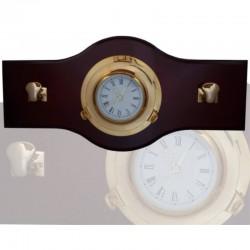 Perchero 70x33cm con reloj latón 22cm y 2 norays