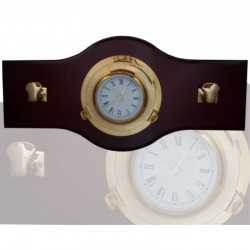 Wall coat rack 70x33cm with 22cm clock and 2 bollards
