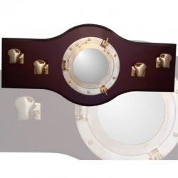 Wall coat rack 70x33cm with porthole and 4 bollards