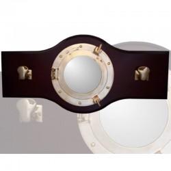 Perchero 70x33cm con espejo ojo buey y 2 norays