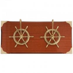 Wall coat rack of 50x23cm with 2 bronze rudder wheels