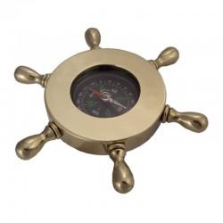 Compass in polished brass rudder wheel 13cm