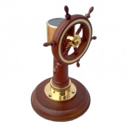 Wooden and brass paperweight with wheel and compass, 16x10cm
