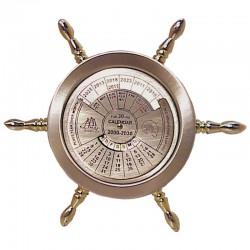Brass perpetual calendar, rudder wheel 14cm