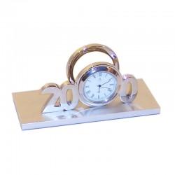 Porta-tarjetas de aluminio con reloj 12x6x5cm