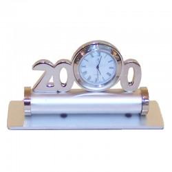 Aluminum paperweight with clock 12x7x4cm